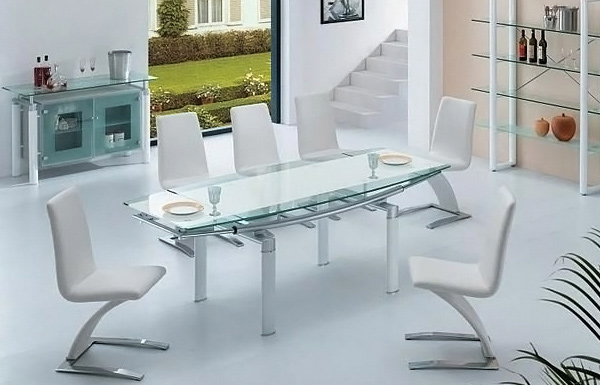 Modern Glass Dining Set in White