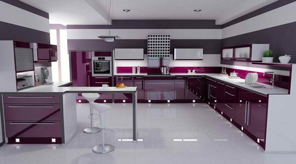 violet-colored kitchen